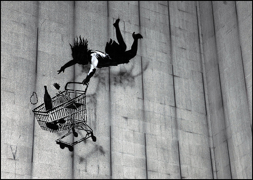 Banksy Trolley Fall