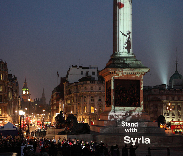 Banksy Girl With A Balloon - Stand With Syria in Trafalgar Square