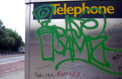 Phone box graffiti