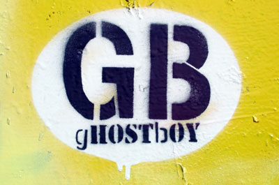 Ghostboy stencil graffiti