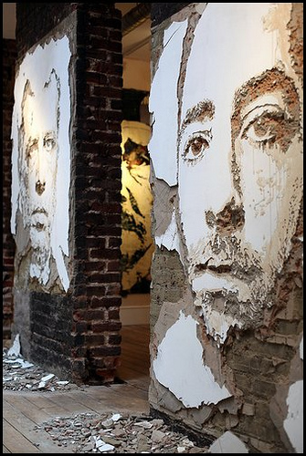 photo of Vhils 'Scratching The Surface' at Lazarides